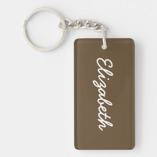Brown Hide Solid Color Double-Sided Rectangular Acrylic Key Ring