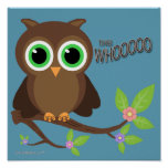 Brown Hoot Owl On A Branch Print