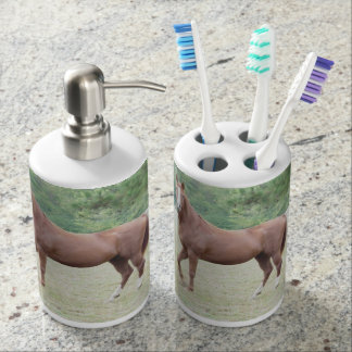 Brown horse bathroom accessories soap dispenser and toothbrush holder