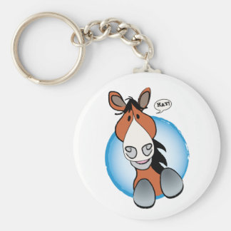 Brown Horse Hay! Basic Round Button Key Ring
