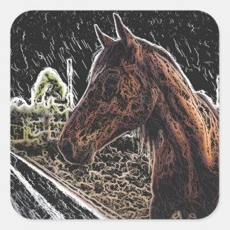 Brown horse in a field square sticker