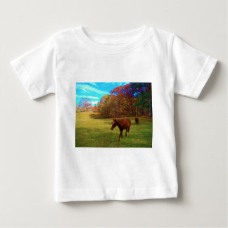 Brown Horse in a Rainbow colored field Tee Shirts