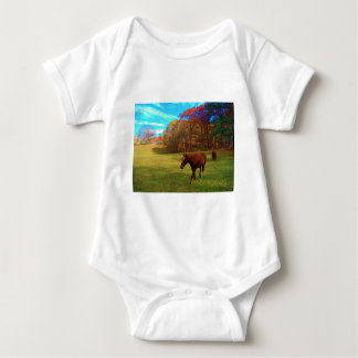 Brown Horse in a Rainbow colored field Tshirt