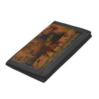 Brown Horse in an Autumn Field Tri-fold Wallet