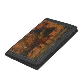 Brown Horse in an Autumn Field Tri-fold Wallet