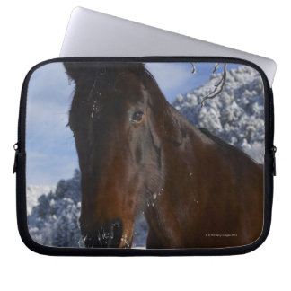 Brown horse in winter laptop sleeve