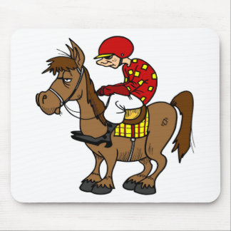 Brown Horse Jockey Mouse Mat