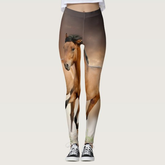 Brown Horse run Leggings