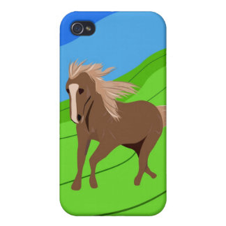 Brown Horse Running with mane & tail blowing wind iPhone 4 Cover