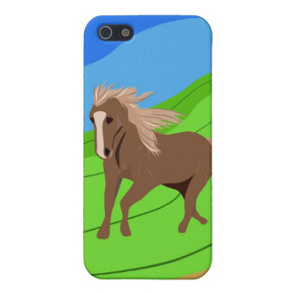 Brown Horse Running with mane & tail blowing wind iPhone 5 Case