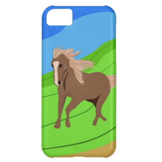 Brown Horse Running with mane & tail blowing wind iPhone 5C Case