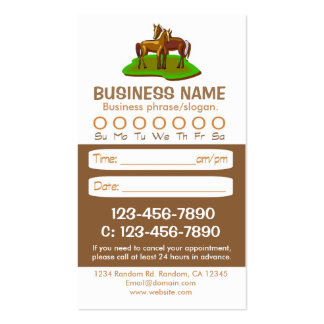 Brown horse veterinarian appointment cards business card template