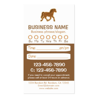 Brown horse veterinarian appointment cards pack of standard business cards
