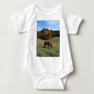 Brown horse with fall trees t-shirts