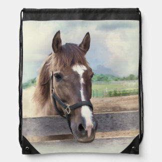 Brown Horse with Halter Drawstring Bag