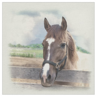 Brown Horse with Halter Fabric