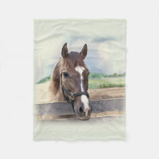 Brown Horse with Halter Fleece Blanket