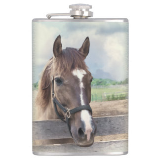 Brown Horse with Halter Hip Flask