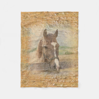 Brown Horse with Halter on Old Wood Fleece Blanket