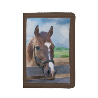 Brown Horse with Halter Trifold Wallet