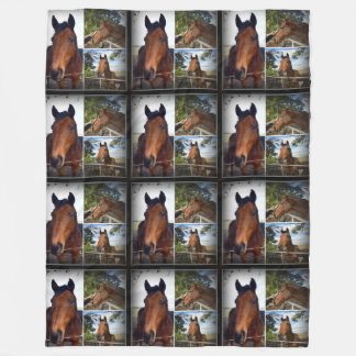Brown Horses In A Photo Collage, Large Fleece Blanket