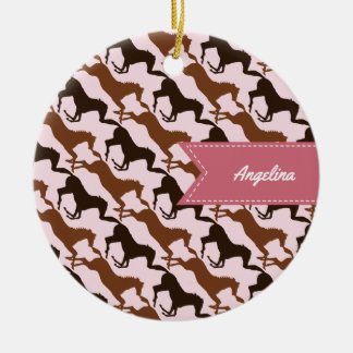Brown Horses on Pink Patterned Christmas Ornament