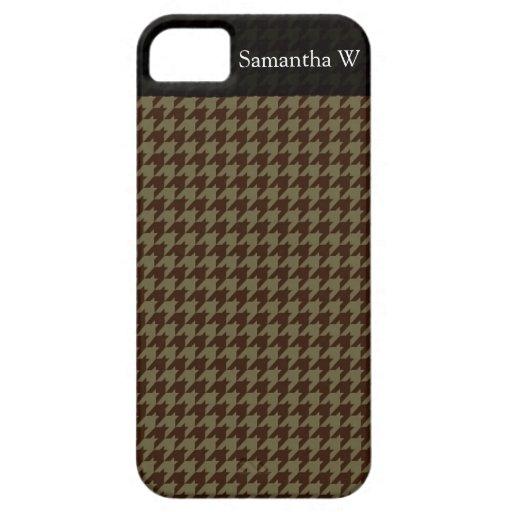 Brown Houndstooth Handsome Gentlemen's Pattern iPhone 5 Case