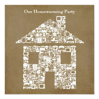 Brown House Home Housewarming Party Invitation