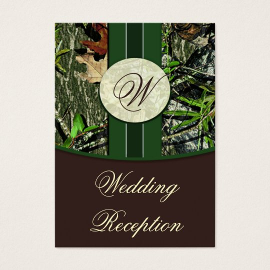 Brown & Hunter Green Camo Wedding Reception Cards
