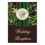 Brown & Hunter Green Camo Wedding Reception Cards Pack Of Chubby Business Cards