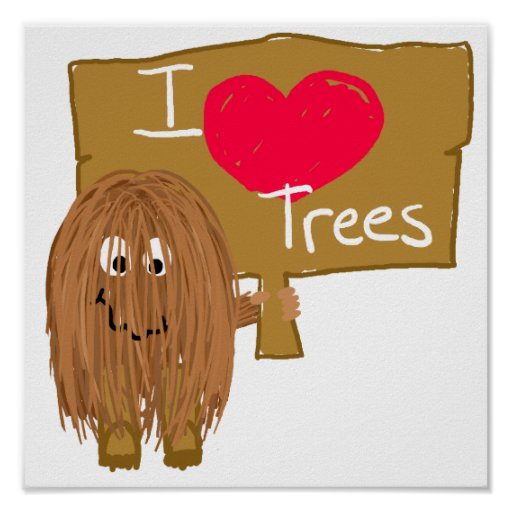 Brown i heart trees poster