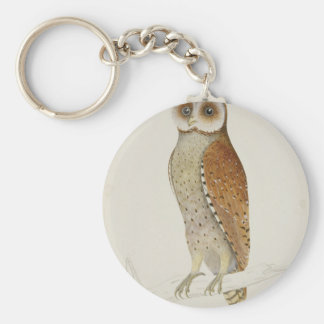 Brown Illustrated Owl on Branch Basic Round Button Key Ring