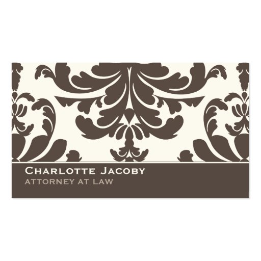 Brown & Ivory Damask Professional Business Card