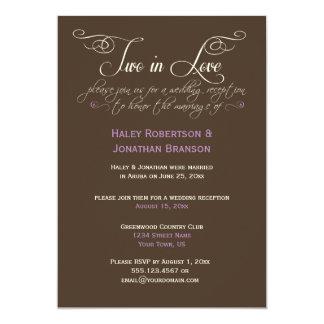 Brown Ivory Lavender Decorative Text Post Wedding 13 Cm X 18 Cm Invitation Card