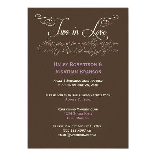 Brown Ivory Lavender Decorative Text Post Wedding Personalized Invites