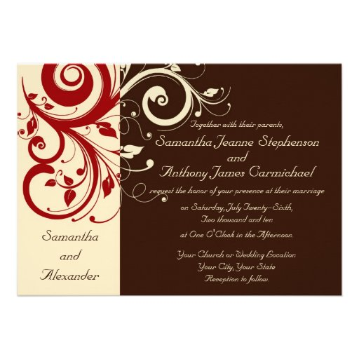 Brown/Ivory/Red Reverse Swirl Wedding Invitations