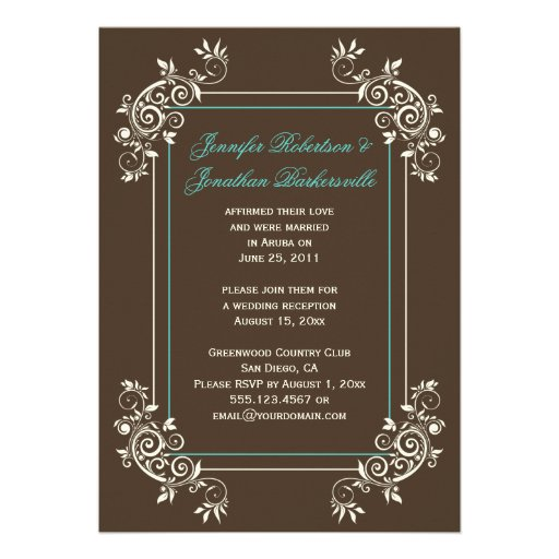 Brown Ivory Teal Ornate Swirls Post Wedding Custom Announcements