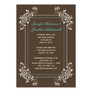 Brown Ivory Teal Ornate Swirls Post Wedding Custom Announcements