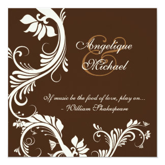 Brown ivory wedding anniversary engagement 13 cm x 13 cm square invitation card