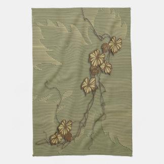 Brown ivy and grape leaf tea towel