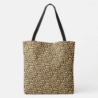 Brown Jaguar Animal Print Pattern Tote Bag