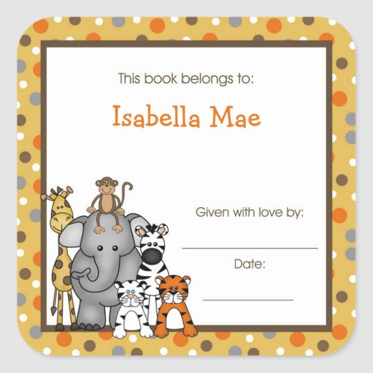 Brown Jungle Animals Book Plate bookplate label