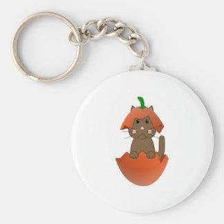 Brown Kitty In A Pumpkin Key Chain