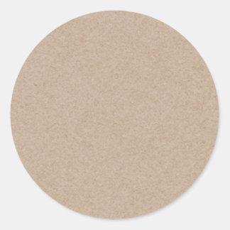 Brown Kraft Paper Background Printed Round Sticker