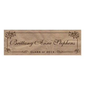 Brown Kraft Paper Graduation Name Card Insert Pack Of Skinny Business Cards