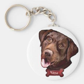 Brown lab dog custom dog name keychains