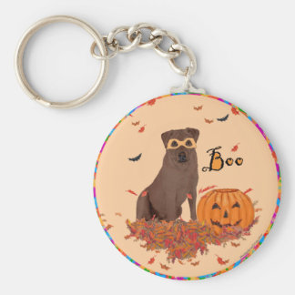 Brown Labrador Retriever Halloween Basic Round Button Key Ring