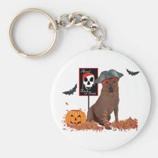 Brown Labrador Retriever Pirate Basic Round Button Key Ring