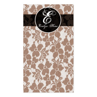 brown lace cutomize your monogram pack of standard business cards