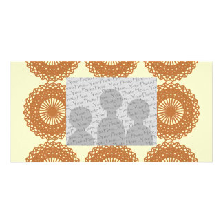Brown Lace Pattern Design. Personalized Photo Card